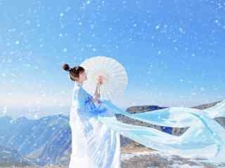可爱的汉服小美女雪景写真壁纸