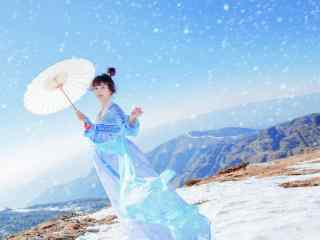 小清新汉服美女雪景写真桌面壁纸