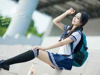 日系学生装双马尾美女图片壁纸
