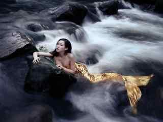 美女真人COS美人鱼图片壁纸