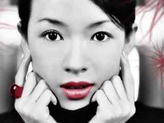 章子怡个性红唇写真图片桌面壁纸