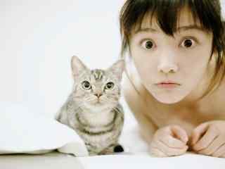 美女与猫咪可爱卖