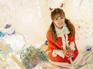 可爱美女圣诞节梦