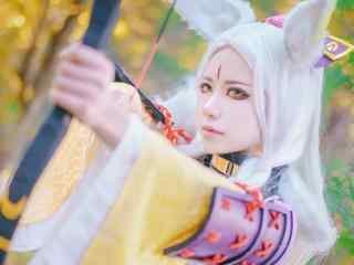 美女帅气cosplay白狼桌面壁纸