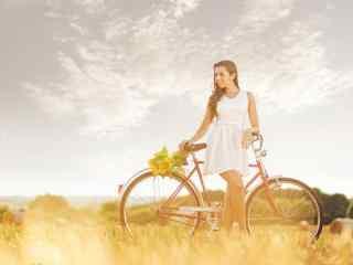 欧美美女小清新脚踏车田园风格写真图片