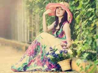 民族风长裙美女田园风格写真图片