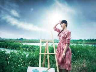 格子长裙文艺美女田园风写真图片桌面壁纸
