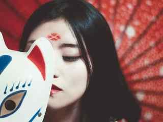 唯美日系美女红唇妆图片桌面壁纸