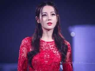 迪丽热巴红色礼服长裙桌面壁纸