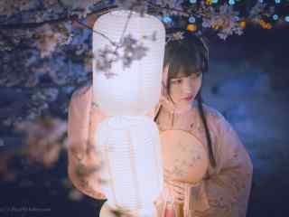 汉服褙子—花灯照亮少女脸庞桌面壁纸