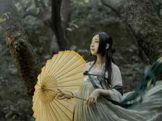 汉服齐胸儒裙—唯美素雅的女孩桌面壁纸