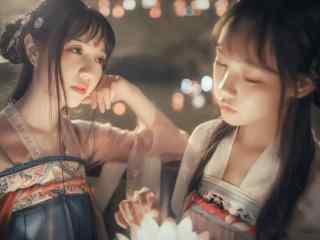 汉服齐胸儒裙—花灯下两个女孩桌面壁纸
