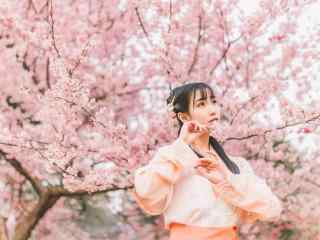 汉服袄裙—桃花树下的美女桌面壁纸