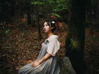 汉服齐胸儒裙—树下少女安静等待桌面壁纸