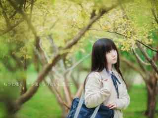 JK制服—秋日少女秀丽的脸庞桌面壁纸
