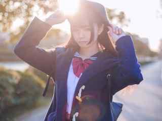 JK制服—光晕下清丽的美少女桌面壁纸