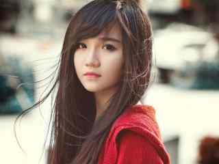 可爱红衣美女写真高清壁纸