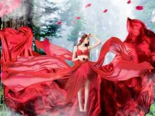红衣美女唯美写真图片