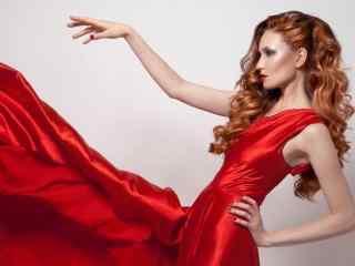 火热性感的欧美红衣美女桌面壁纸