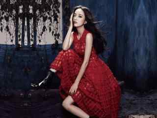 红衣美女佟丽娅写真高清壁纸