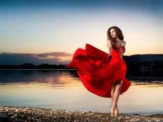 性感欧美红衣美女写真高清壁纸
