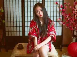 个性红衣美女写真高清壁纸