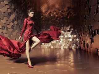 欧美性感红衣美女霸气写真壁纸