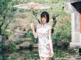 旗袍—小清新清纯少女桌面壁纸