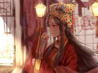 唯美手绘古风红衣美女桌面壁纸