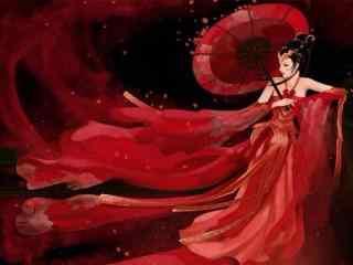 手绘古风红衣美女桌面壁纸