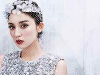 古力娜扎时尚红唇婚纱桌面壁纸