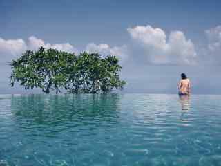 蔚蓝的海边裸背美女图片壁纸