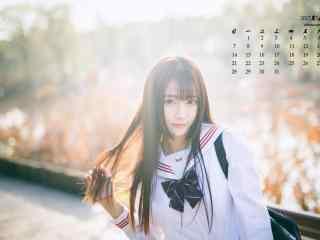 2017年5月清纯日系美女写真日历壁纸