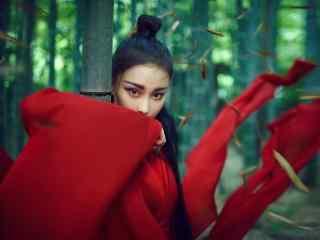 张馨予红衣古装大片桌面壁纸