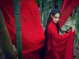 张馨予红衣古装美女桌面壁纸