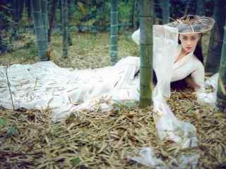 古装美女白衣仙子张馨予桌面壁纸