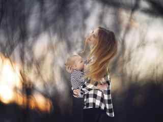 妈妈与孩子唯美写真壁纸