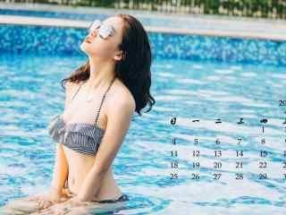 2017年6月日历小清新泳装美女高清壁纸