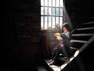 儿童节之看书的小女孩桌面壁纸