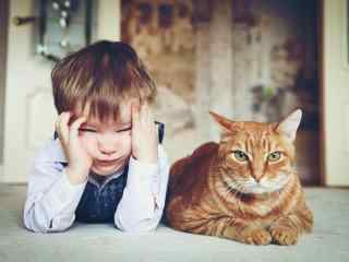 儿童节之可爱的小男孩与猫咪