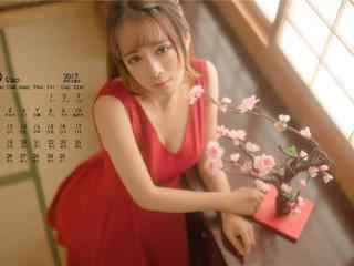 2017年9月日历红衣美女写真壁纸