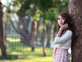 2017年9月日历清纯美女写真图片壁纸