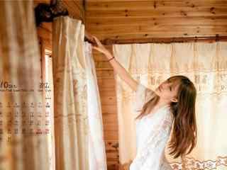 2017年10月日历清纯美女写真壁纸