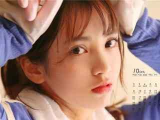 2017年10月日历美丽的少女桌面壁纸