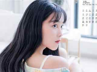 2017年10月日历小清新美少女图片壁纸