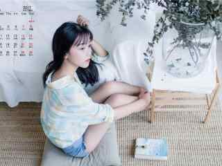 2017年10月日历清新美少女图片壁纸