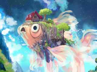 电脑高清壁纸天空壁纸鱼壁纸房子树壁纸唯美梦幻壁纸奇幻壁纸系列
