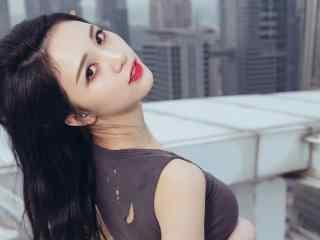 性感美女壁纸李倩倩长发美女回眸侧颜桌面壁纸性感美腿美女制服艺术摄影壁纸