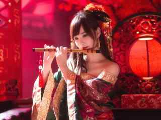 古装美女壁纸古典美女吹笛子 古装 美女 服饰 头饰 笛子 房间 红色 唯美 古风美女桌面壁纸