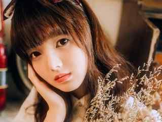 齐刘海清纯美少女写真图片桌面壁纸